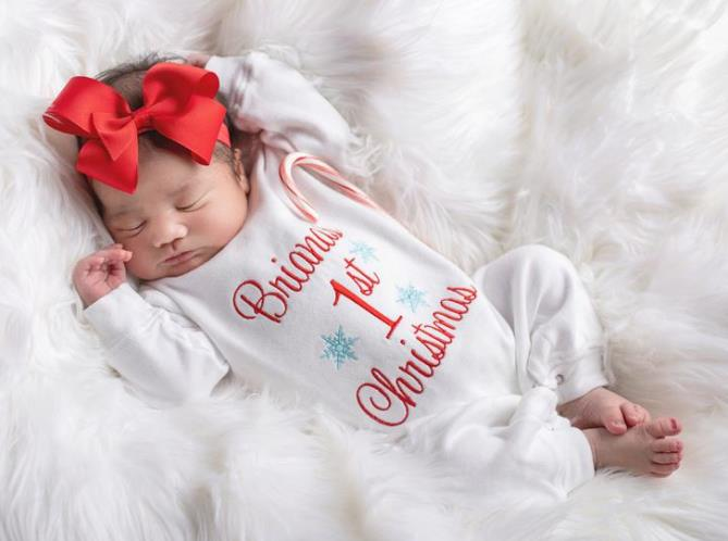 Personalized 1st Christmas Romper with Matching Headband