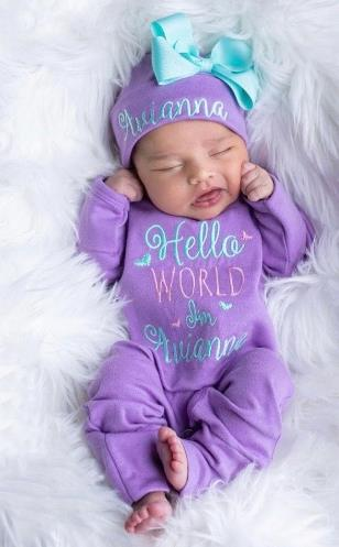 Purple, Aqua & Pink Hello World Personalized Romper with Matching Hat