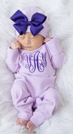 Personalized Purple & Lavender Newborn Romper and Hat Outfit Set