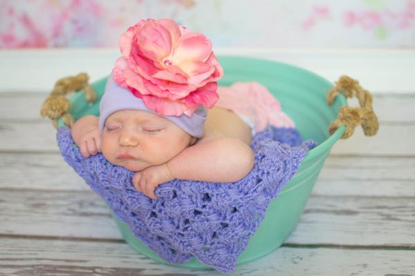 Lavender Flower Hat with Pink Rose