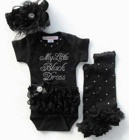 My Little Black Dress Ruffle Rhinestone Bodysuit
