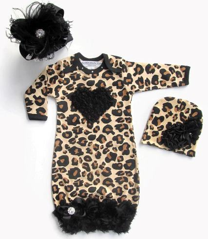 Black Leopard Ruffle Heart Newborn Gown