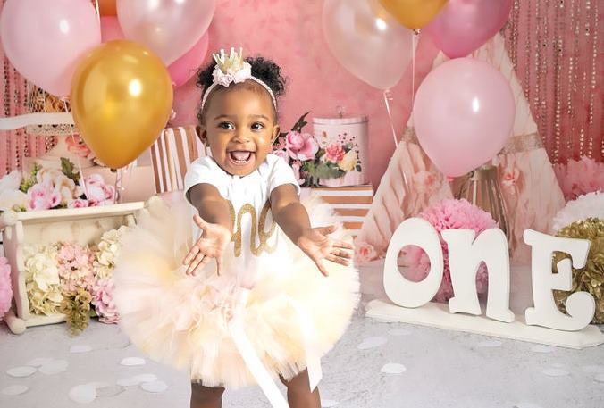 Ivory, Pink & Gold 1st Birthday Tutu Outfit with Matching Headband
