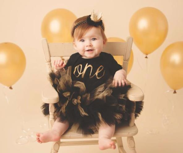 Black & Gold 1st Birthday Tutu Outfit
