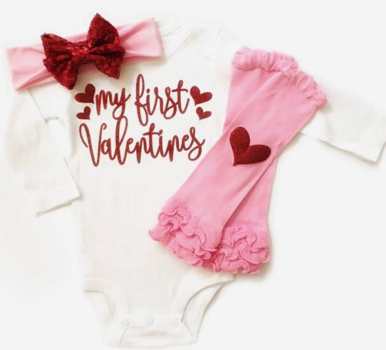 My First Valentine's Day Red & Pink 3pc. Outfit