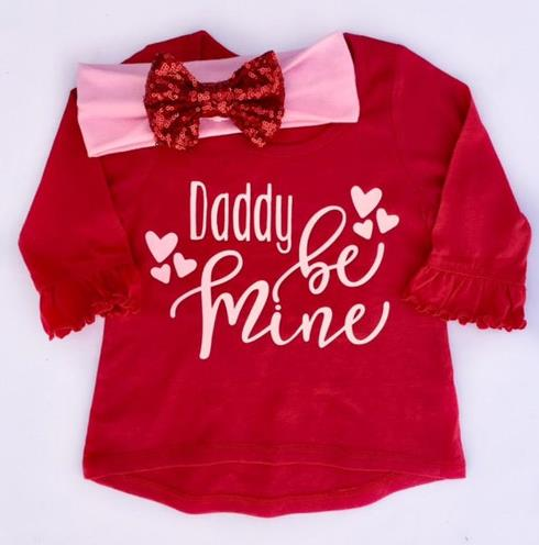Daddy Be Mine Valentine's Day Outfit with Matching Headband