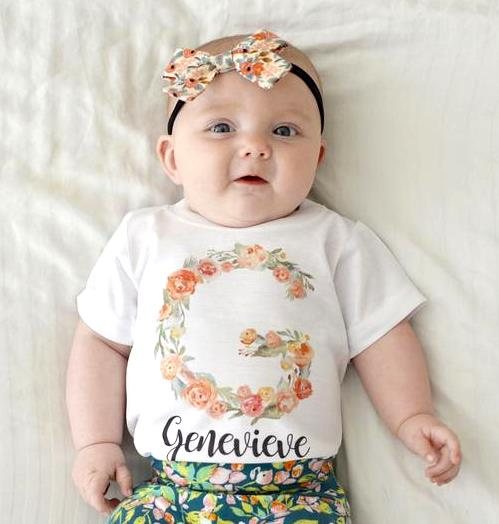 Personalized Floral Monogram Bodysuit Shirt