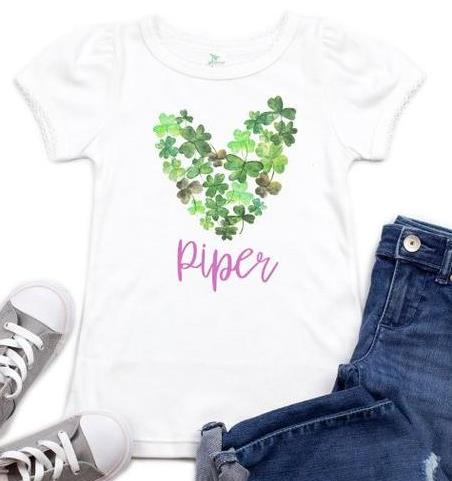 Lucky Heart of Clover Personalized St. Patrick's Day Bodysuit Shirt