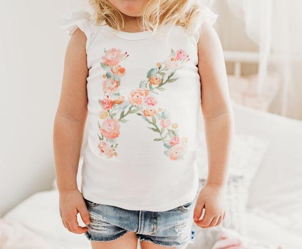 Personalized Spring Floral Monogram Bodysuit Shirt