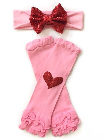 Valentines Day Headband and Matching Heart Leg Warmers Set