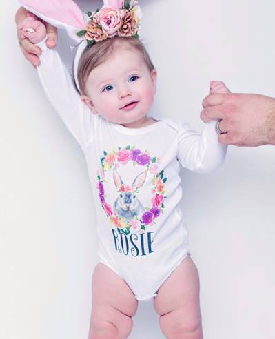 Personalized Floral Bunny Easter Onesie