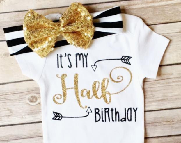 Black & Gold Glitter Half Birthday Bodysuit