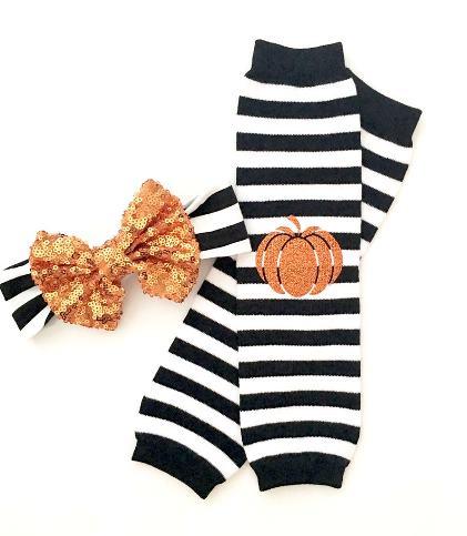 Black Striped Halloween Pumpkin Leg Warmers & Headband Set