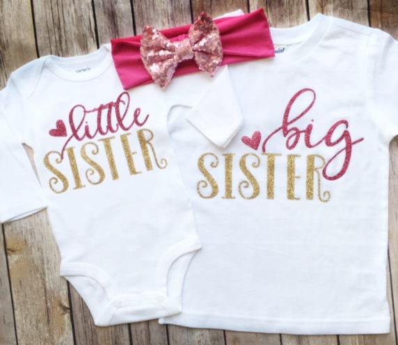 Matching Big Sister and Little Sister Glitter Shirts