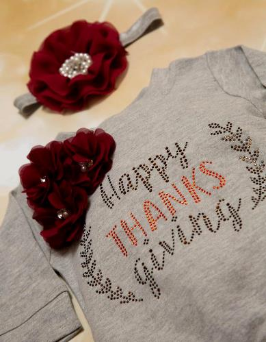 Happy Thanksgiving Grey Rhinestone Romper with Matching Headband