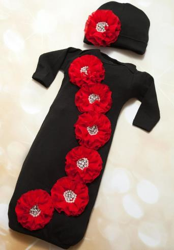 Holiday Black & Red Chiffon Gown with Matching Hat