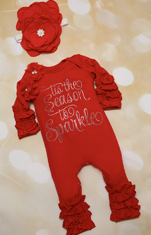 Tis The Season to Sparkle Red Rhinestone Holiday Ruffle Romper with Matching Headband