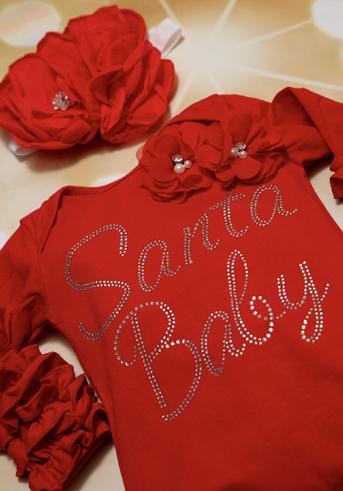 Red Santa Baby Rhinestone Ruffle Romper with Matching Headband