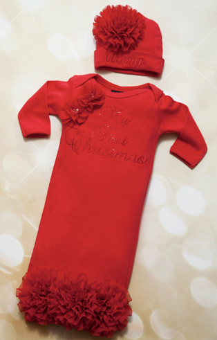 Personalized My First Christmas Red Rhinestone Chiffon Gown with Hat