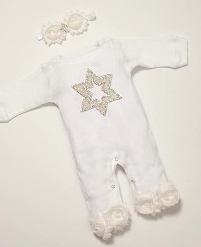 Jewish Celebration Hanukkah Rhinestone Star Romper