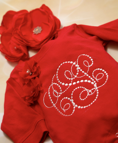 Personalized Red Monogram Romper with Matching Flower Headband