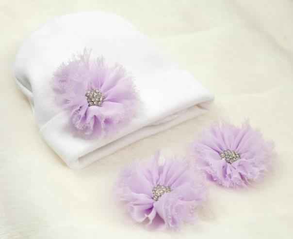 Choose Color - Newborn White Hat & Barefoot Flower Sandals Set