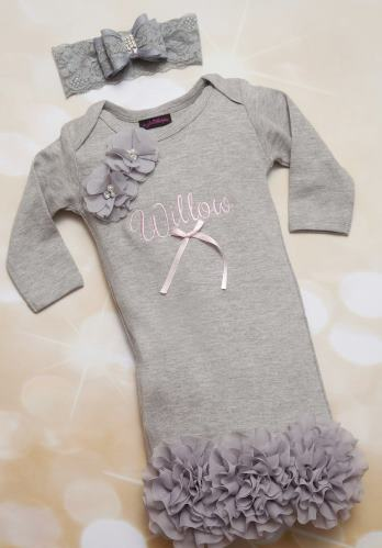 Gray Personalized Baby Girl Gown Set Embroidered Infant Gown Set with Matching Lace Headband