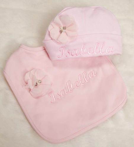 Pink Personalized Hat & Bib Gift Set