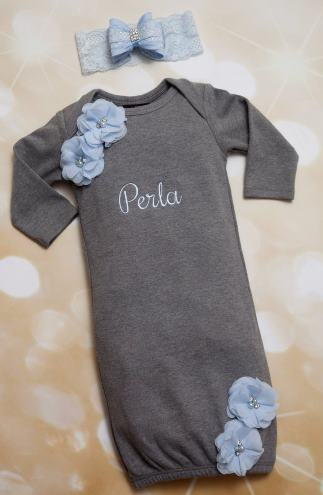 Gray & Baby Blue Personalized Gown with Matching Headband