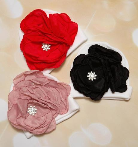 Choose Color - Chiffon Rhinestone Flower Hat