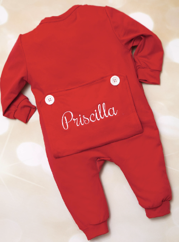 Personalized Pocket Bottom Holiday Romper with Matching Headband