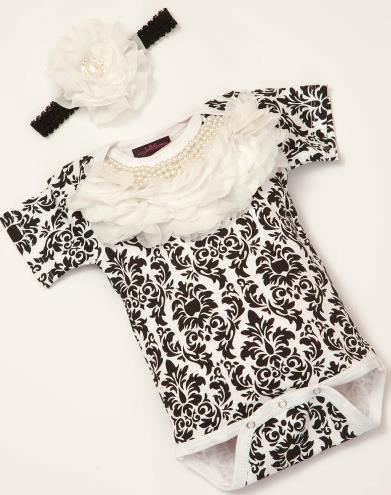 Black & White Damask Pearl Chiffon Collar Bodysuit with Matching Headband
