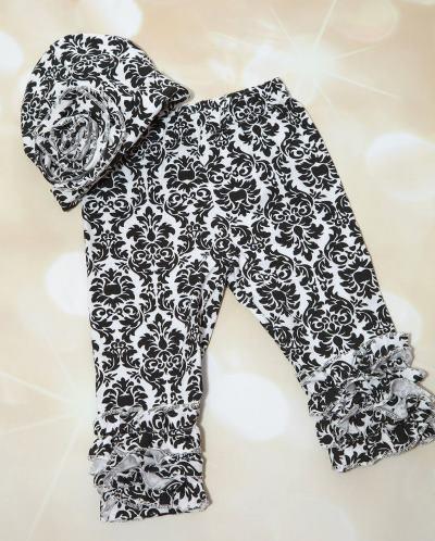 Black & White Damask Ruffle Pants and Matching Hat
