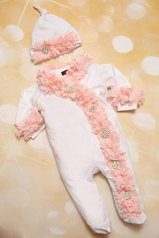 Footed Baby Girl White Infant Layette Chiffon Romper and Matching Hat Outfit Set