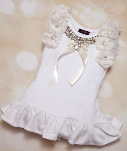White Holiday Rhinestone Chiffon Dress