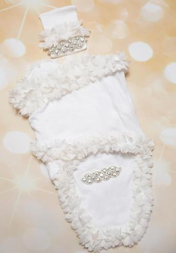 White Rhinestone Newborn Swaddle Blanket