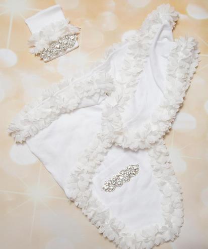 White Rhinestone Newborn Swaddle Blanket