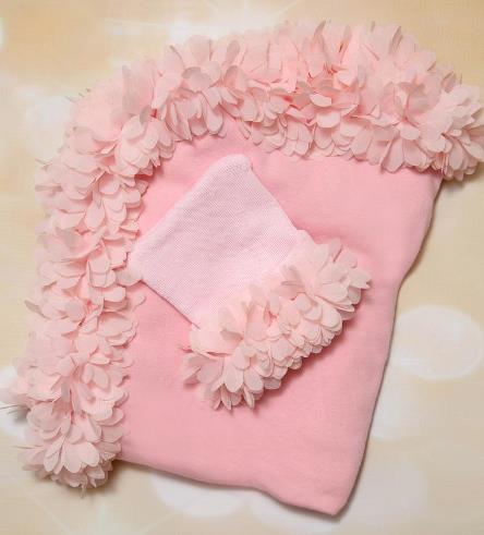 Pink Receiving Baby Blanket with Soft Fluffy Chiffon & Matching Hat Set
