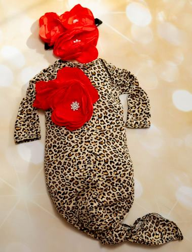 Leopard & Red Flower Layette Tie Gown with Matching Headband