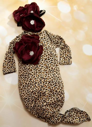 Leopard & Wine Flower Layette Tie Gown with Matching Headband
