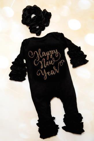 Happy New Year Black & Gold Ruffle Romper with Matching Headband