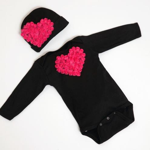 Black & Hot Pink Floral Heart Bodysuit with Matching Hat