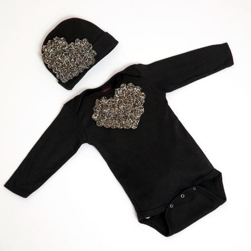 Black & Leopard Floral Heart Bodysuit with Matching Hat