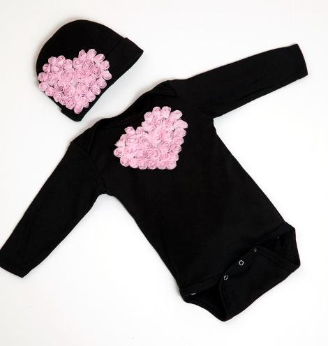 Black & Pink Floral Heart Bodysuit with Matching Hat