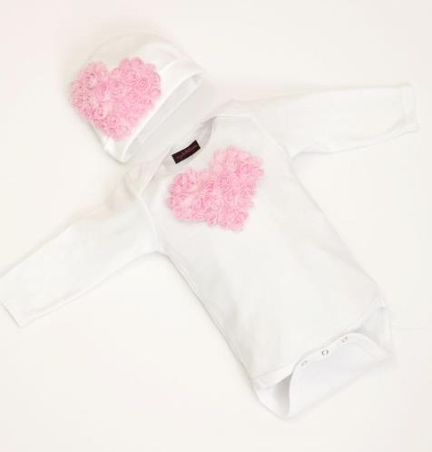 White & Pink Floral Heart Bodysuit with Matching Hat