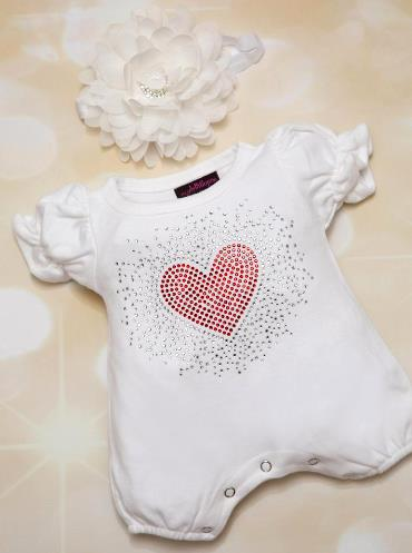White Bubble Romper with Red Rhinestone Heart & Matching Headband