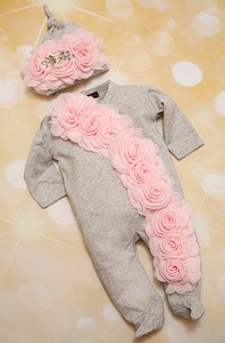 Newborn Baby Girl Gray and Pink Chiffon Floral Romper and Hat Outfit Set