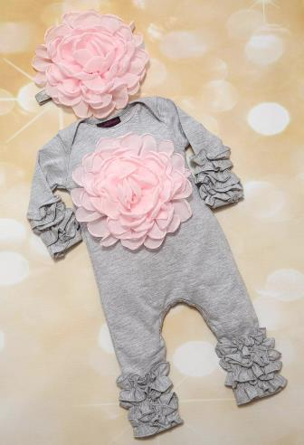 Gray and Pink Floral Romper and Matching Headband Outfit Set