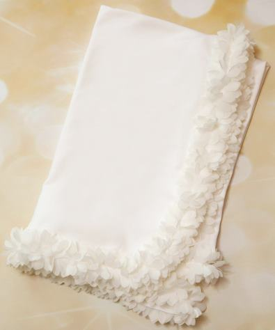 White Receiving Baby Blanket with Off White Fluffy Chiffon