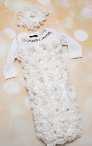 Newborn Baby Girl White Floral Petal Chiffon Rhinestone Take Home Hospital Gown